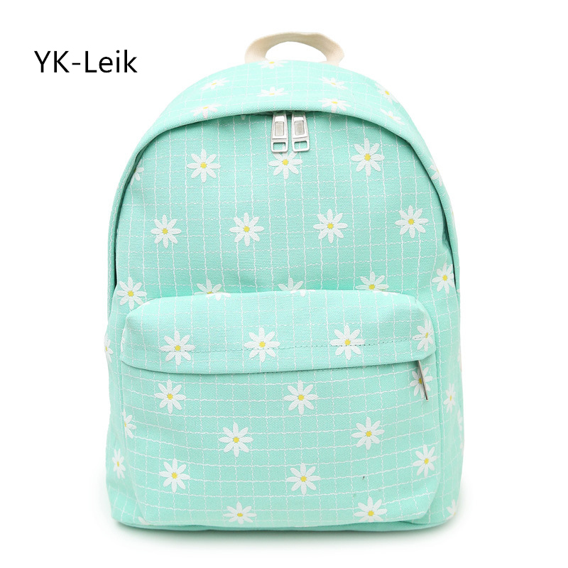 YK-Leik simple fashion print backpack for women. College style lady canvas backpacks Casual student school bags for girls