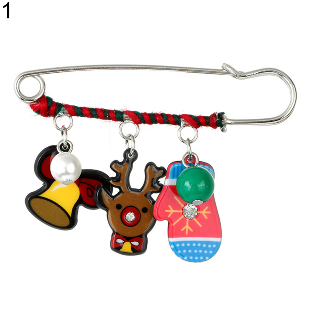 Christmas Sled Dog/Elk/Snowman/Bell Charm Brooch Pin Dress Scarf Xmas Decor