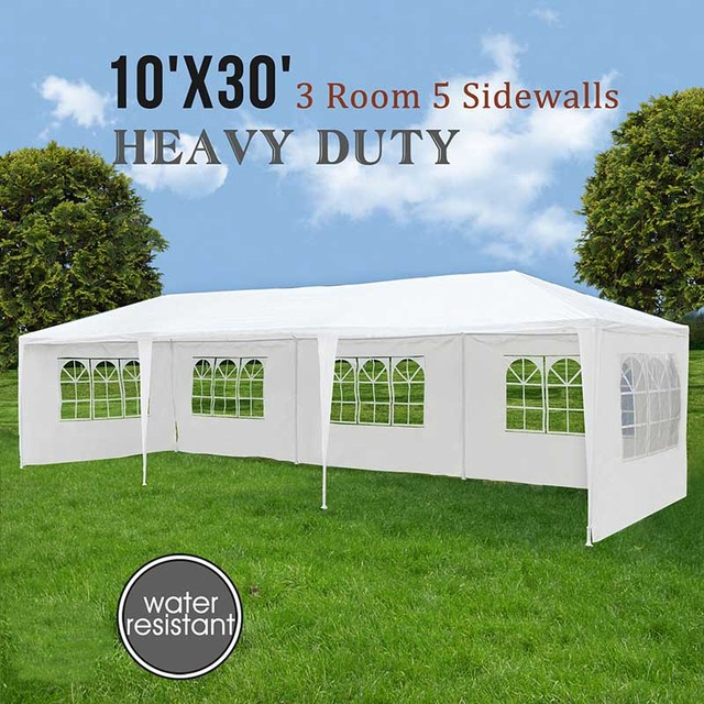 10u0027x30u0027 5 Windows White Wedding Party Tent Outdoor Folding Gazebo Marquee Tents Large & 10u0027x30u0027 5 Windows White Wedding Party Tent Outdoor Folding Gazebo ...