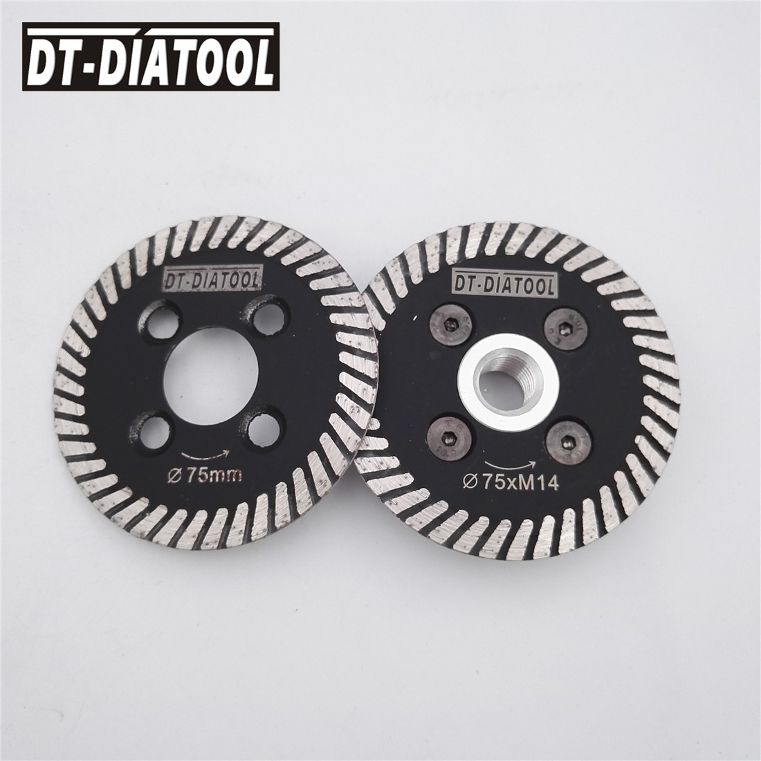 DT-DIATOOL Diameter 75MM Dry And Wet Hot Pressed Mini Turbo Diamond Carving Disc Cutting Saw Blade With Connection M14 Flange