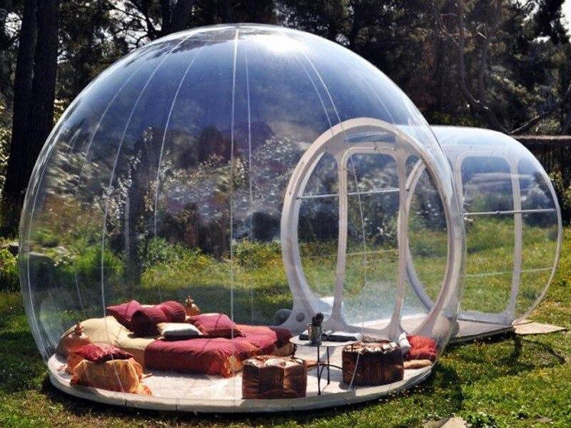 Tente gonflable d'arbre de bulle, tentes de Camping d'arrière-cour Famaily de maison d'exposition gonflable, salle de camping de carpas de pvc de 0.45mm 4 personas