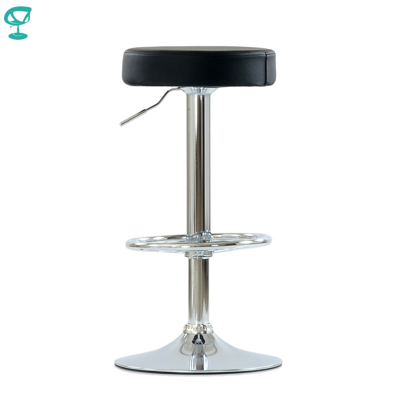 N130CrPuBlack Barneo N-130 High Eco-leather Kitchen Breakfast Stool Swivel Bar Chair Round Seat Black Free Shipping In Russia
