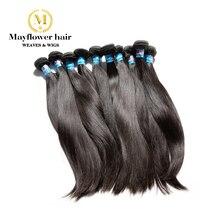 """Mayflower 10 шт. девственные малазийские прямые волосы необработанные натуральные волосы полное выравнивание кутикулы натуральный цвет 10-30"""""""