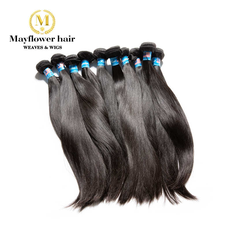Mayflower 10pcs Virgin Malaysian straight hair 100% unprocessed raw hair Full cuticle aligned natural color 10-30""