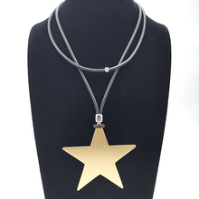 NEW Five-Pointed Star Necklaces Long 2 Wears Fashion Pendants For Women Harness Neck Leather Chain Choker Harajuku Punk Jewelry