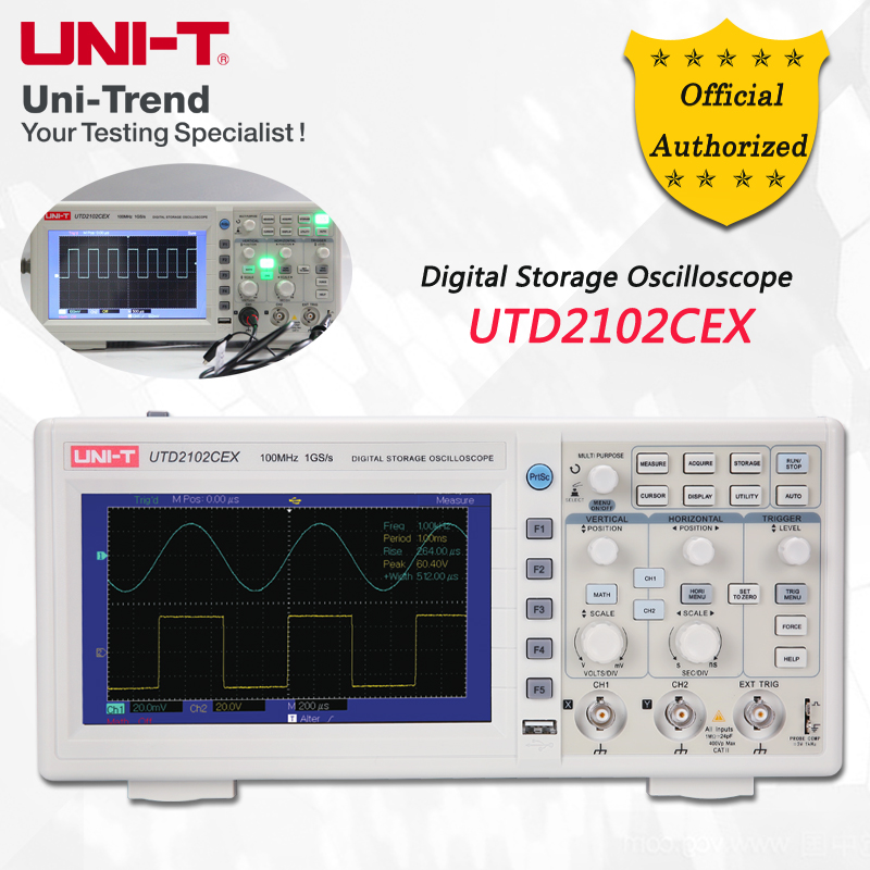 UNI-T UTD2102CEX Digital Storage Oscilloscope; 2Channels, 100MHz Bandwidth, 1GS/s Sample Rate, USB Communication u022 uni t utd2052cex digital storage oscilloscope 2 channels 50mhz 1gs s