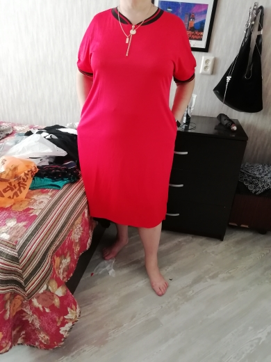 5Xl 6Xl Plus Size Straight Dresses Women O Neck With Zippers Big Size Summer Casual Loose Solid Dress Red Vestidos photo review