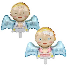 8PCS Mini Baby Angel Boy Foil Balloons Foil infant Angel Balloons Globos for Kids 1st Birthday Party Decorations New Born Baby цена
