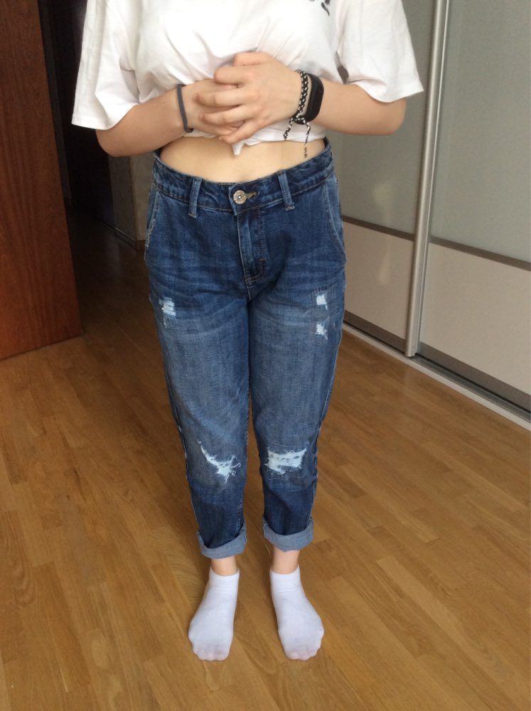 Spring Plus Size Fashion Ripped Hole Bleached Mid Waist Ankle Length Vintage Stretch Loose Harem Women Jeans photo review