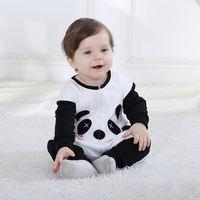 Black White Panda Character Newborn Baby Romper Fleece Cotton Newborn Baby 1 Year Old Toddlers Overalls