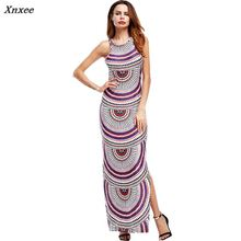 2018 Summer Dress Plus Size 3XL 4XL 5XL Printed Women Sleeveless Split Open Back Long Dress Casual Beach Bodycon Pencil Vestidos plus open shoulder split back pinstripe shirt