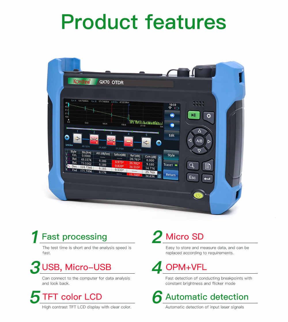 KomShine QX70-S волоконно-оптический OTDR с источник света в оптическом диапазоне и измеритель оптической мощности и функция VFL 10 мВт