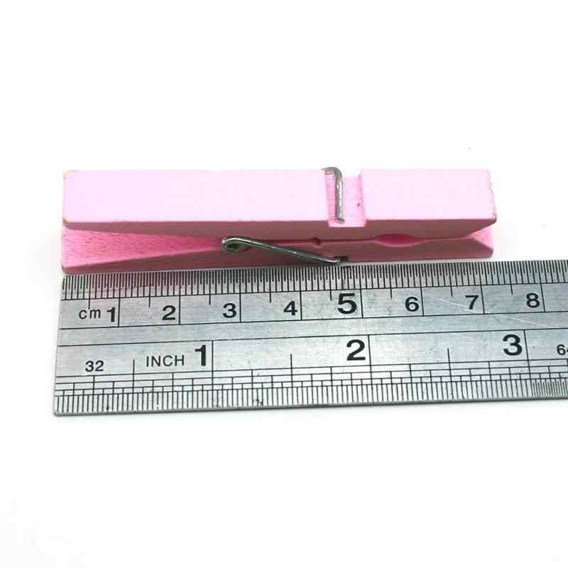 40 шт прочные 2,9 дюймов деревянные прищепки Одежда стреплоки ремесло зажимы школьные офисные канцелярские принадлежности (розовый)