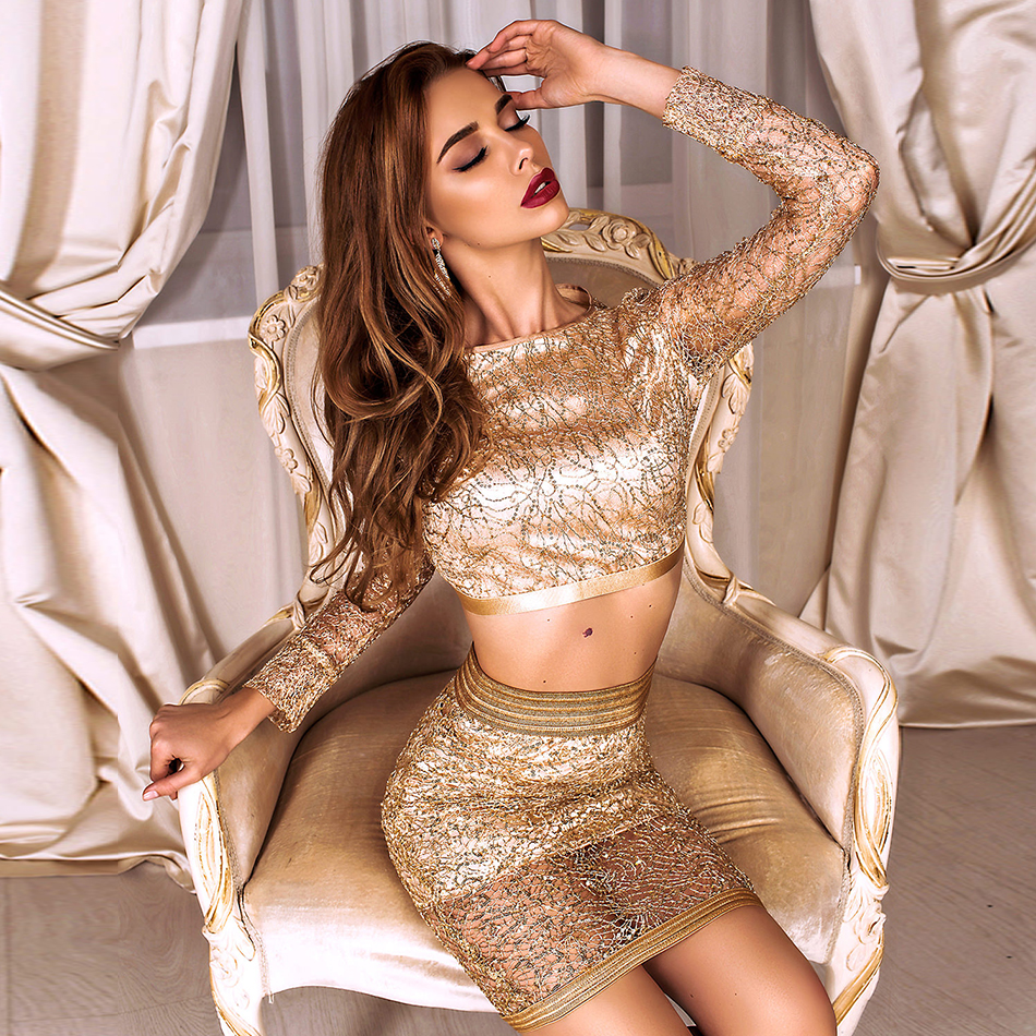 ADYCE New Bodycon Bandage Women Sets Sexy 2 Two Pieces Gold Sequined Long Sleeve Club Sets Vestido Celebrity Evening Party Dress