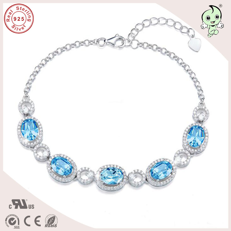 Good Quality Popular Silver Jewelry Gift Blue Famous Crystals 925 Real Silver Link Bracelet For Girls popular good quality gift silver jewelry bangle pink love heart famous crystals 925 pure silver bangle