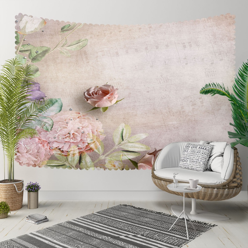 Else Brown Vintage Pink Damson Flowers Floral Leaves 3D Print Decorative Hippi Bohemian Wall Hanging Landscape Tapestry Wall Art