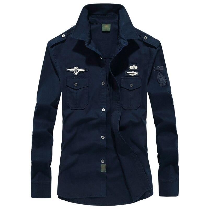Hommes mode chemise 2018 militaire chemise veste automne décontracté 6XL simple-boutonnage manteau Camisa Hombre Bomber vêtements d'extérieur en coton