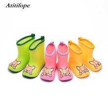 Kids rain boots Non-slip Rubber Rain Shoes Children Spring Autumn Winter Waterproof Shoes Cartoon panda dog Rainboots цена
