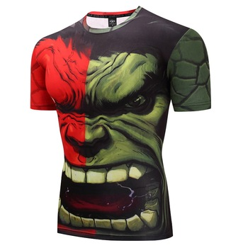 2018  Fashion Compression Shirts Men 3D Printed T-shirt Short Sleeve Cosplay Fitness Body Building Male Crossfit Tops Hulk D01 red hulk