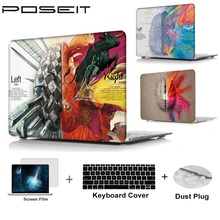 цена на For Apple Macbook Air Pro Retina Touch Bar 11 12 13 15 Plastic Hard Case Cover Laptop Shell+Keyboard Cover+Screen Film+Dust Plug