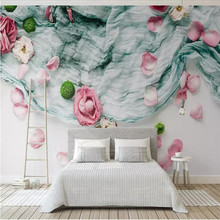 3d forest Nordic style textile cloth rose flower background wall professional production wallpaper