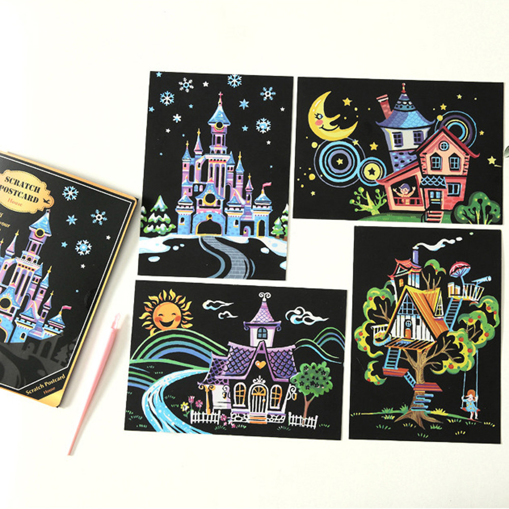 4pcs 20x14cm Magic Scratch Art Painting Paper Educational Toys For Children Amazing Kids Toys Basteln Kinder 30no13