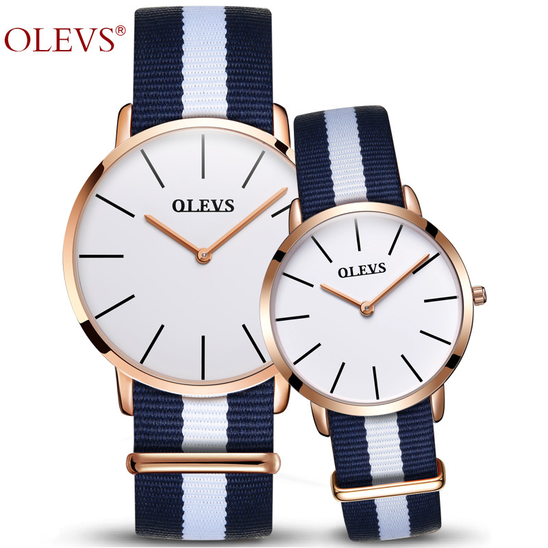 Couple Watch OLEVS Luxury Brand Watches Women and Men Wristwatch Nylon strap Hight Quality Quartz Ladies Wrist Watch For 1PCS 2017 olevs luxury quartz casual watch fashion nylon belt watches men women couple watch for lovers sports wristwatch black