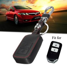 Black PU Leather Remote Key Cover Case Fob For Honda /Odyssey Vezel 2 Buttons