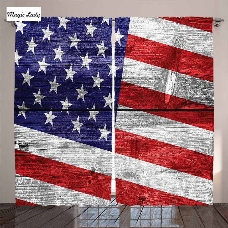 Star Curtains Living Room Bedroom Rustic Decor America Usa Flag Country Emblem Wooden Plank Red