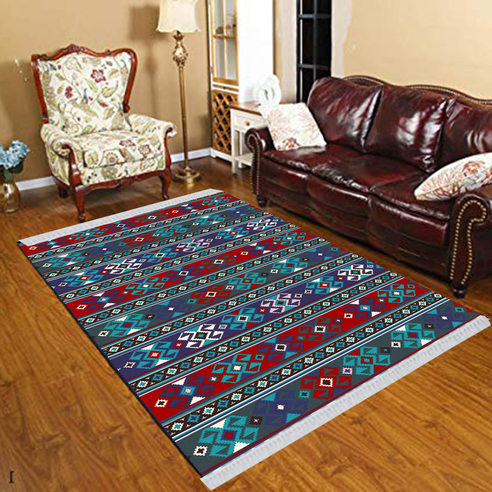 Else Blue Red Authentic Aztec Retro Ethnic Floral 3d Print Anti Slip Kilim Washable Decorative Kilim Tassel Rug Bohemian Carpet