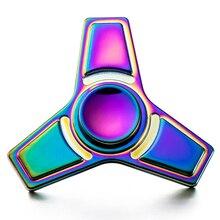 สายรุ้งTri-s Pinnerอยู่ไม่สุขปั่นมือปั่นลูกเหล็กแบริ่งหมุนเวลายาวต่อต้านความเครียดของเล่นโฟกัสGyroของเล่น