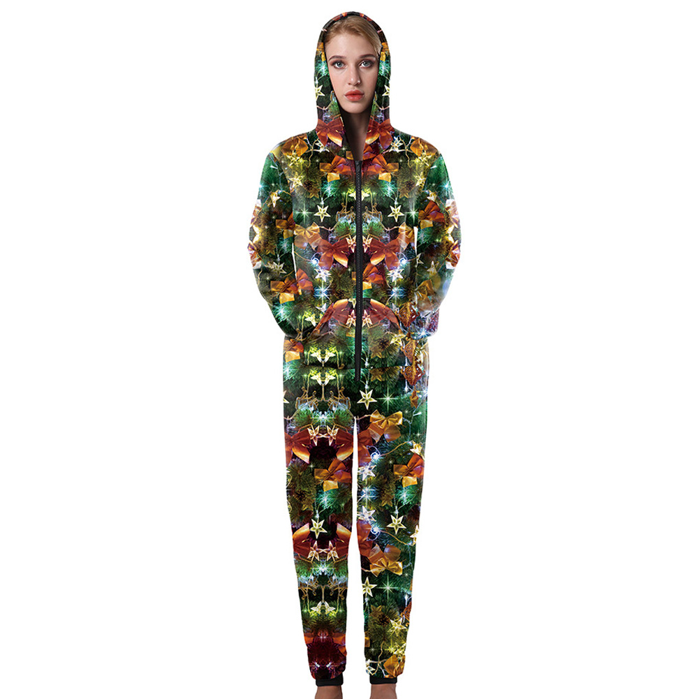 Christmas Plus Size rompers Hooded womens jumpsuit loose casual long jumpsuit playsuit Print oversize Zippers coveralls