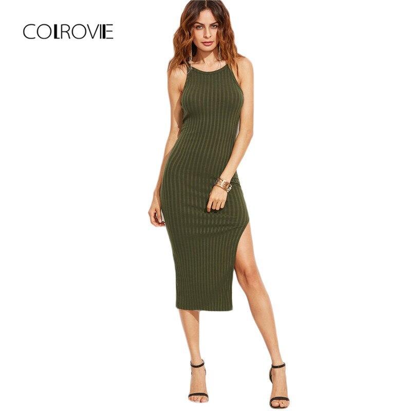 COLROVIE mujeres Sexy Bodycon Cami vestido invierno Otoño 2017 mujeres otoño moda nuevo diseñador lado Ribbed Midi vestido