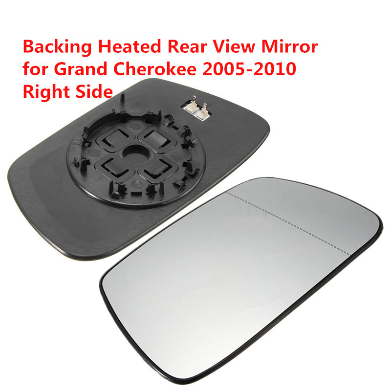 Left Door Side View Mirror with Backing Plate Replacement Jeep Grand Cherokee 2005-2010 Heated Mirror Glass