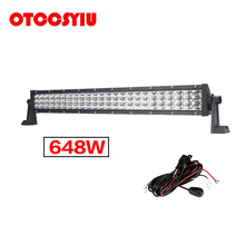 Super Brgiht Light LED Work bar 23 INCH 648W 64800LM White Beam Combo 3-Row Daying Running 4WD 4x4 Truck SUV ATV RZR