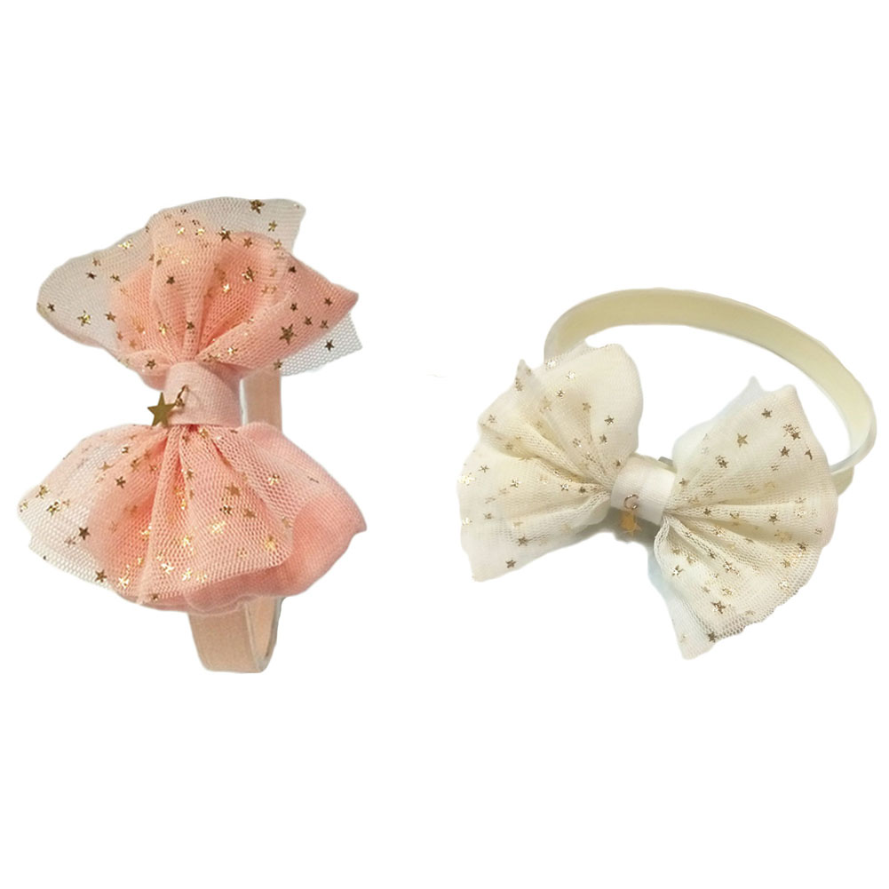 1pc Cute Bronzing Cotton Bowknot Girls Hairbands Kids Hair Bows Headbands Headwear Hair Accessories 4pcs set fashion cute kid girls headband bowknot headbands bows band hair accessories acessorios para cabelo