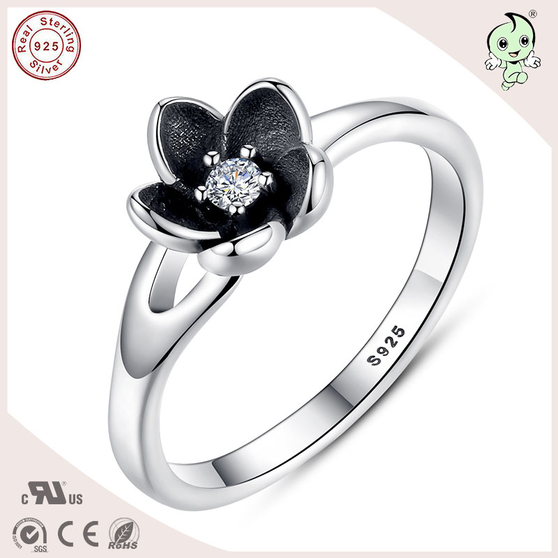 P&R products Good Quality Black Enamel Flower Design Authentic 925 Solid Silver Rose Ring for women