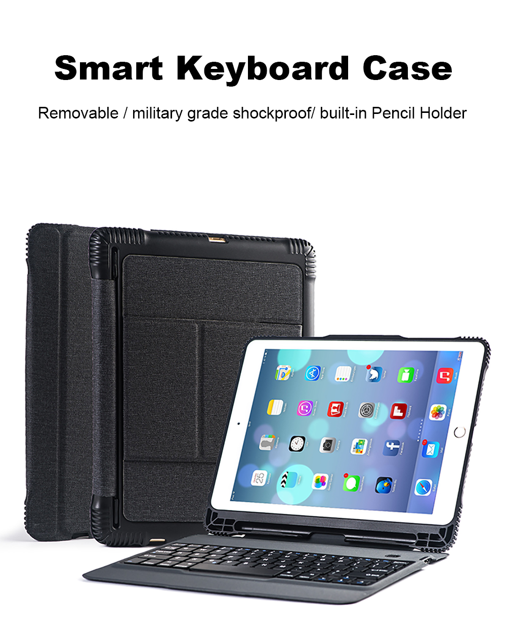 Smart Keyboard Case For iPad 2018 2017 5th 6th Air 1 2 Detachable Design Wireless Bluetooth Teclado Cover For iPad Pro 10.5 9 (11)