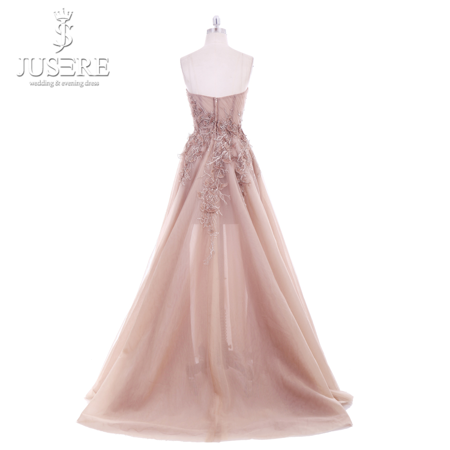 Image 3 - Jusere 2018 New A Line Sweetheart Applique Top Sweep Train Zipper up Back Illusion Long Prom Dress Lace Appliques Evening GownsProm Dresses   -