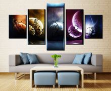 Canvas Paintings Wall Art Pictures Home Decor 5 Pieces Venus Jupiter Mars Planet Mercury Starry Sky HD Prints Posters Framework