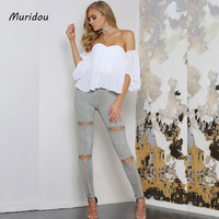 Muridou 2017 Women Suede Pants High Waist Hollow Out Lace Up Skinny Pencil Pants Elastic Waist