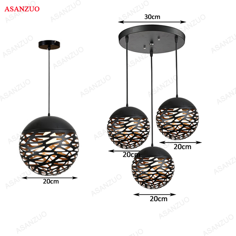 Vintage Pendant Lights Hollow Black Iron Pendant Lamp Kitchen Fixtures Dining Room Table Hang Lamp Avize Luminaria Home Lighting