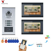 Wi Fi видеодомофон видео дверные звонки 7 ''сенсорный экран для 2 отдельных квартир/8 зон сигнализации Поддержка Смартфон Android iOS
