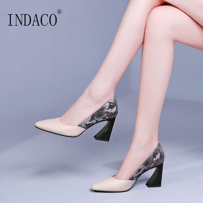 2019 High Heel Pumps Women Shoes Heels Genuine Leather Snake Print Fashion Shoes 8cm