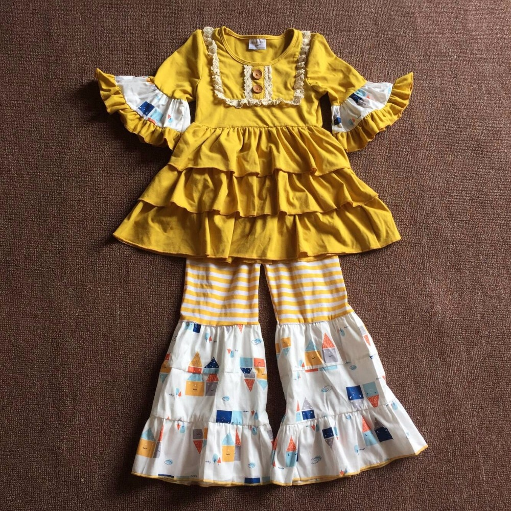 Sweet Fall Mustard Yellow Cute Baby Girl Clothing Sets Kids Boutique Hot Sale Lace Ruffles Children Apparel Infants Accessory 2017 new fall mustard yellow children sets ruffle butterfly sleeves infants clothing baby girl nursing accessory apparel