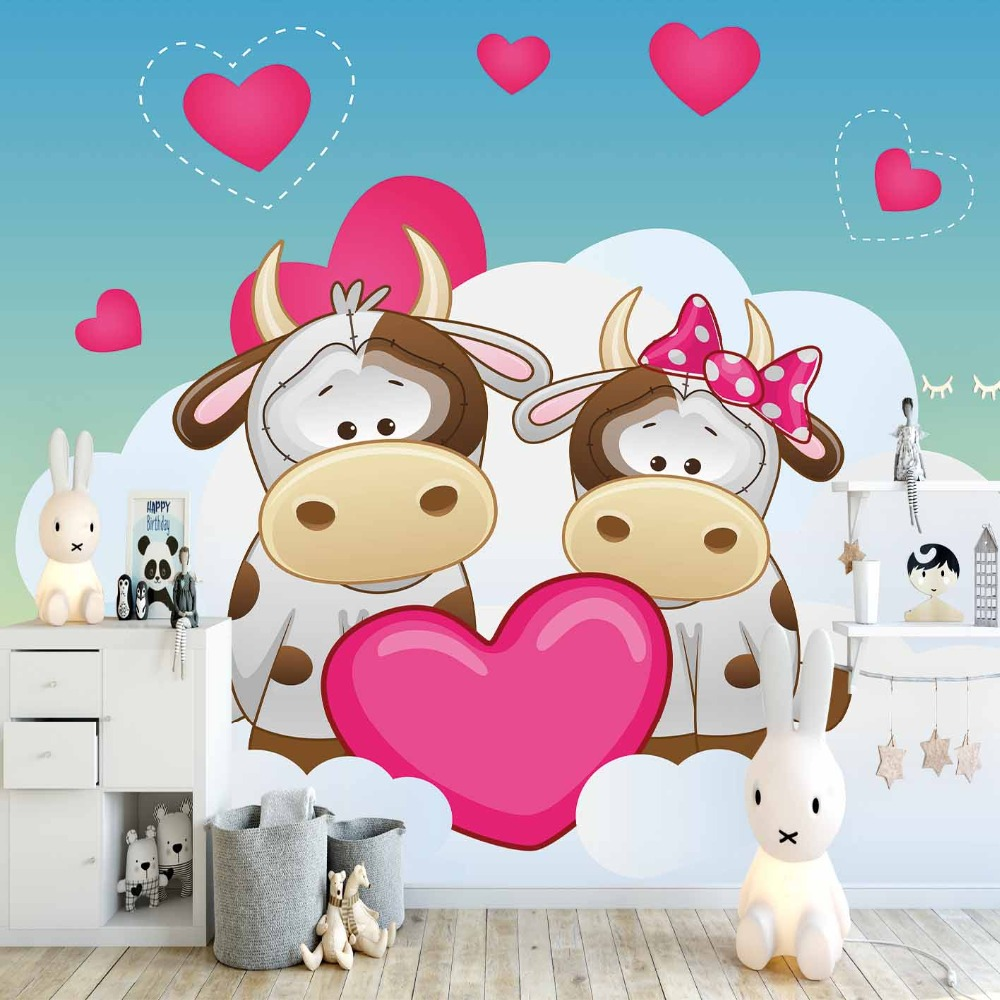Else Blue Floor Pink Hearts Cows White Clouds 3d Print Cartoon Cleanable Fabric Mural Kids Children Room Background Wallpaper