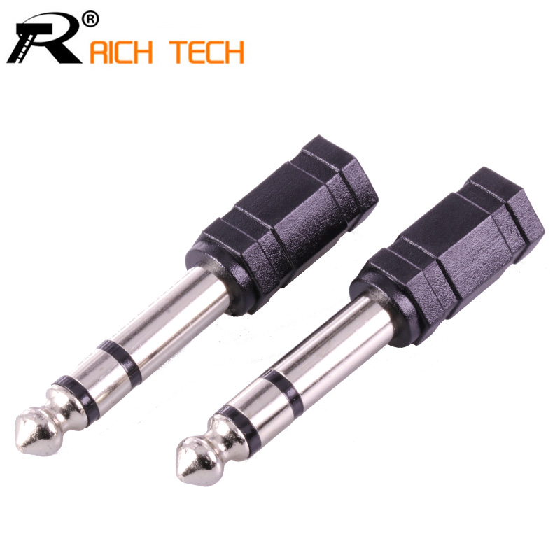 3Pcs R Audio Connecteur Stereo Plug 6.35 to 3 pole Jack 3.5 MM Socket Microphone Adapter Nickle-plated with Black Plastic 3pcs lot high quality jack 3 5 audio wire connector rich tech 3 5mm 3 pole stereo plug gold plated earphone diy plug r connector