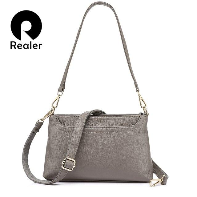 REALER повседневная сумка женская через плечо из натуральной кожи со много карманов, маленькая кожаная сумка на плечо