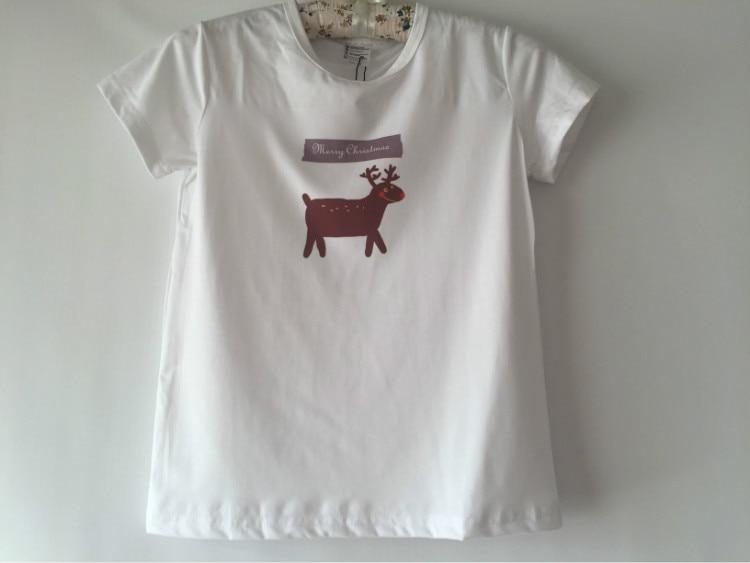 t-shirt girl summer custom t shirt drop shipping christmas tshirt Merry Christmas Elk cartoon pattern children t-shirt modal