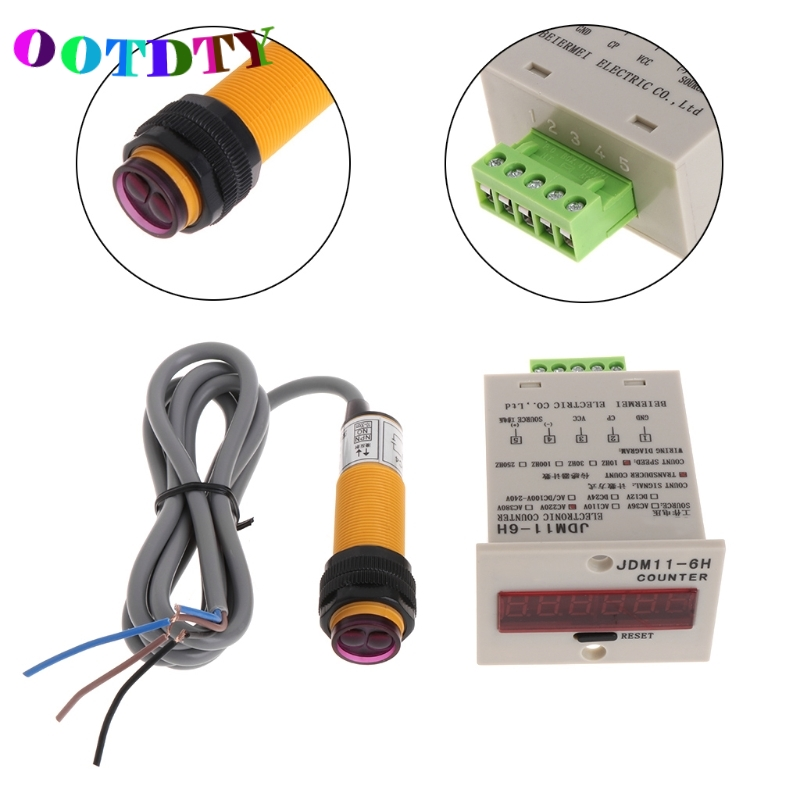 OOTDTY 6-Digit LED Display 1-999999 Counter Adjustable NPN Photoelectric Sensor Switch Digital Counter Drop Shipping Support lcd punch counter digital 5 digit including proximity switch and strong magnetic